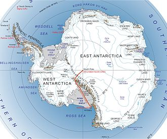 East Antarctic Shield - Figure 1. Map of East and West Antarctica separated by the Transantarctic Mountain Range