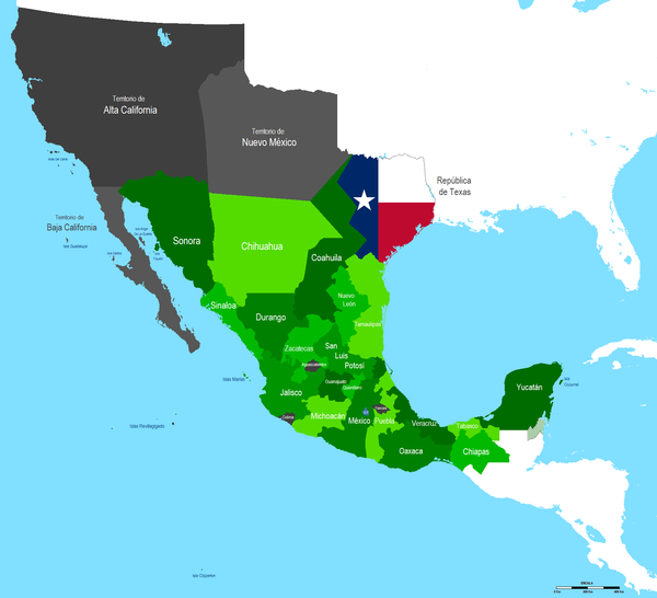 Map of Mexico in 1836. Mapa Mexico 1836.PNG