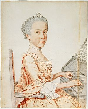 Archduchess Maria Josepha of Austria - Maria Josepha seated at the harpsichord in 1762 by Liotard
