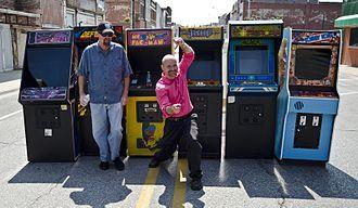 U.S. National Video Game Team - Mark Hoff outside the original Twin Galaxies arcade location in Ottumwa Iowa, 2014