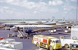 Martin 4-0-4 - Nine Martin 404s of Southern Airways at Atlanta Airport in 1972, being prepared for departure on the morning wave of flights