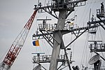 Mast of USS Benfold (DDG-65) left front view at U.S. Fleet Activities Yokosuka April 30, 2018 02.jpg