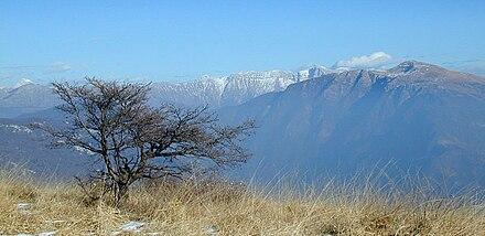 Il ripido versante ovest del Matajur visto dal monte Joanaz