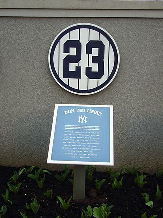 1997 New York Yankees season - Mattingly's retired number in Monument Park at Yankee Stadium