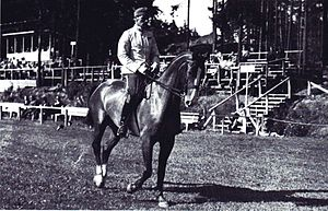 Equestrian at the 1952 Summer Olympics - Mauno Roiha and Laaos practising at the 1952 Olympic Games