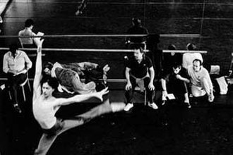 Maurice Béjart - Directing dancers at the Béjart Ballet Lausanne, Switzerland, 1988.