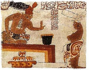 Chocolate - A Maya lord forbids an individual from touching a container of chocolate.