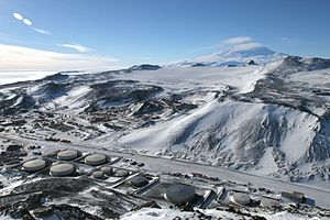 Oil terminal - Tank farm at McMurdo Station, Antarctica