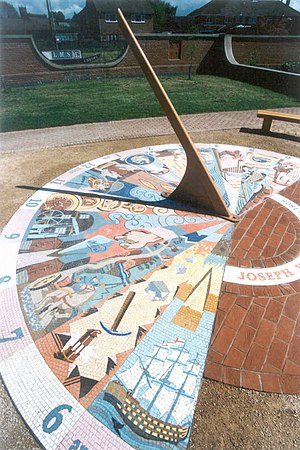 Measham - Sundial commemorating Joseph Wilkes, by the artist Steve Field, erected in 2009, near the former railway station