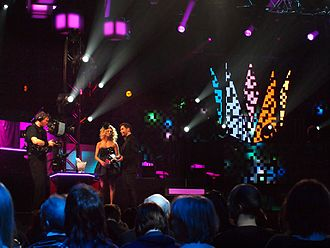 Melodifestivalen - Hosts Christine Meltzer and Måns Zelmerlöw during the second semi-final of Melodifestivalen 2010 in Sandviken.