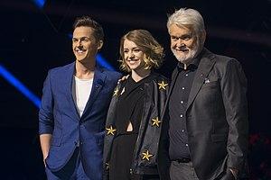 Melodifestivalen 2017 - The hosts David Lindgren, Clara Henry, and Hasse Andersson.