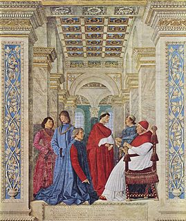 <i>Sixtus IV Appointing Platina as Prefect of the Vatican Library</i> fresco by Melozzo da Forlì
