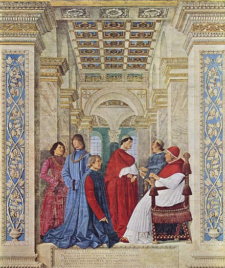 Pope Sixtus IV appoints Platina as Prefect of the Library, by Melozzo da Forli, accompanied by his relatives Melozzo da Forli 001.jpg