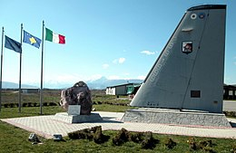 Memorial of first flight to land at Gjakova Airfield on 23 September 1999, an Italian Airforce G 222.JPG