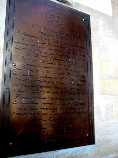 The memorial to Roger Bacon at St Mary Major, Ilchester Memorial to Roger Bacon - Dr Mirabilis - Ilchester - geograph.org.uk - 1232199.jpg