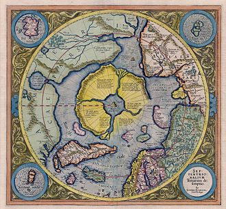 Hyperborea - Arctic continent on the Gerardus Mercator map of 1595.