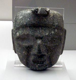 Mezcala culture - Greenstone Mezcala mask in the Museo de América in Madrid