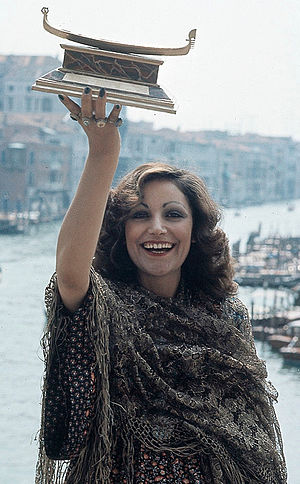"Mia Martini - Martini in Venice in 1973, holding the Gondola d'Oro prize won with her song ""Donna Sola"""