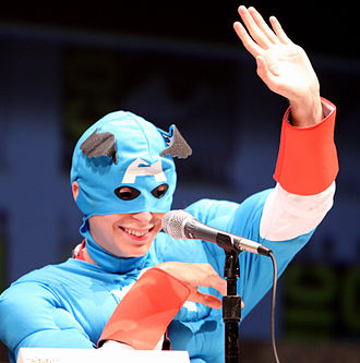 Scott Pilgrim vs. the World - Michael Cera dressed as Captain America at the Scott Pilgrim panel at the 2010 San Diego Comic-Con.