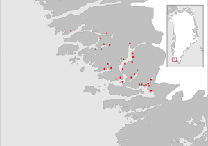 "Ivittuut - Map of the ""Middle Settlement"" of the Norse in medieval Greenland. Red dots indicate known Norse farm ruins."