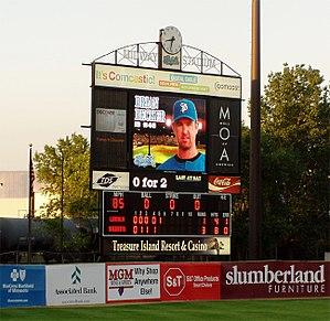 Midway Stadium - The scoreboard at Midway Stadium