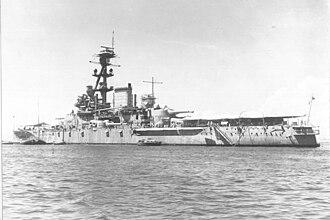 Minas Geraes-class battleship - Minas Geraes after its 1930s modernization, possibly during the Second World War