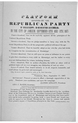 Mississippi Republican Party - Platform adopted by the Republican party of Mississippi, in convention assembled, in the City of Jackson, September 10th and 11th, 1867