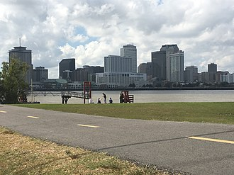 Mississippi River Trail - The Mississippi River Trail in Algiers Point, New Orleans, with a view of the Mississippi River and the French Quarter, New Orleans skyline.