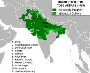 Jerome Xavier - The Mughal Empire at Akbar's death in 1605. Fully integrated territories in dark green, dependent territories in light green