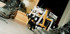 """Monochrom - Rare photograph of """"Der Exot"""", monochrom's tele-controlled robot project (1997)."""