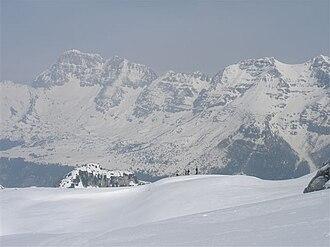 Chiusaforte - the Jôf di Montasio from Kanin Mountains