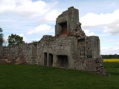 7. Site of Tudor great hall, the work of Sir Andrew Corbet, showing fireplaces and doors to latrines.