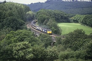 British Rail Class 50 - British Rail Class 50 pulling the morning express across the Penadlake viaduct on 29 August 1987