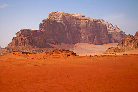 Wadi Rum's resemblance to the surface of Mars has made it a popular filming and tourist attraction. Mountain in Wadi Rum, Jordan.jpg