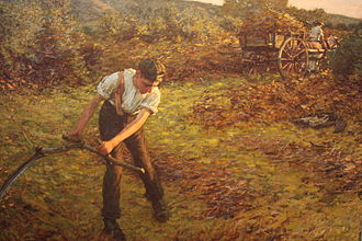 1903 in art - Image: Moving Bracken by H H La Thangue, 1903, Guildhall Gallery, London