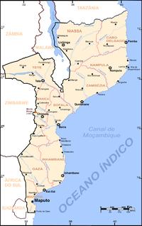 Mapa de Moçambique.