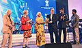 Mridula Sinha presenting the Golden Peacock award (Best Film) for 'Daughter' to the Director Reza Mirkarimi, at the closing ceremony of the 47th International Film Festival of India (IFFI-2016), in Panaji, Goa.jpg