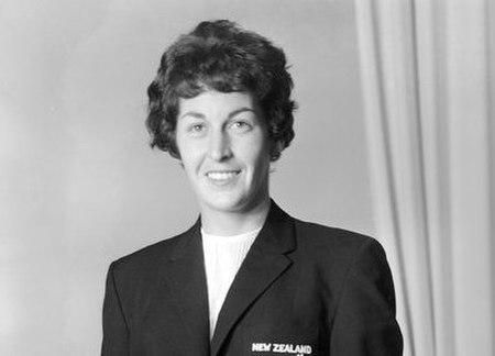 Mrs W Coe, representative of the New Zealand women's cricket team, 1966 (head crop).jpg