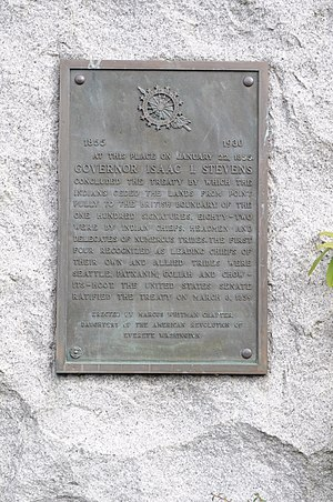 Treaty of Point Elliott - Plaque near the location of the signing of the Treaty of Point Elliott, Mukilteo, Washington.