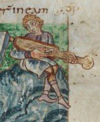 Cythara - Image: Musician playing a medieval cythara 1