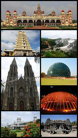 Clockwise from top: Mysore Palace, Shivanasamudra Falls at Mandya, Infosys Building, Brindavan Gardens Musical Fountain in Mandya, Chennakesava Temple, Lalitha Mahal, St. Philomena's Church and Chamundeshwari Temple.