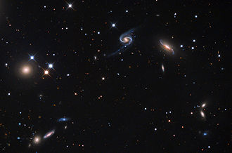 NGC 90 - NGC 90 (top center) and its spiral companion to the right, NGC 93