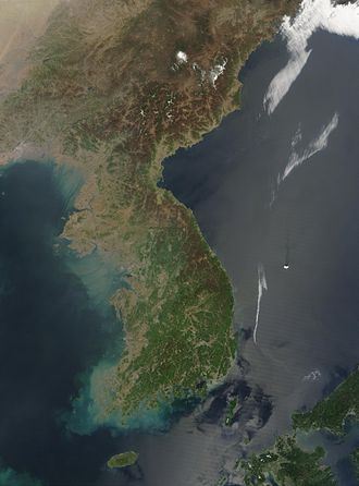 Geography of North Korea - A satellite image of Korea
