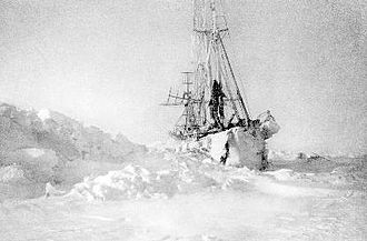 North Pole - Nansen's ship Fram in the Arctic ice