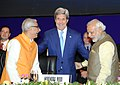 Narendra Modi with the US Secretary of State, Mr. John Kerry, at the 7th Vibrant Gujarat Global Summit 2015, in Gandhinagar, Gujarat on January 11, 2015. The Governor of Gujarat, Shri O.P. Kohli is also seen.jpg
