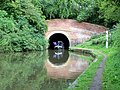 Narrowboat emerging from western portal of Braunston Canal Tunnel - geograph.org.uk - 417044.jpg