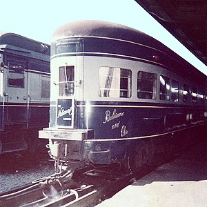 National Limited - The Baltimore and Ohio Railroad's National Limited observation car with drumhead at Union Station (Washington, D.C.), in 1961. The car is one of three acquired from the New York Central Railroad in 1956.