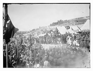 Nabi Musa - Ottoman flags fly over the Nabi Musa for the last time, in 1917.