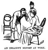 Una ilustración de Nellie Bly sentada en una silla mientras un psiquiatra la examina