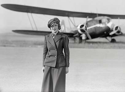 Nelly Diener, the first air stewardess in Europe, standing in front of the Curtis AT-32C Condor, in which she would lose her life on 27 July 1934.
